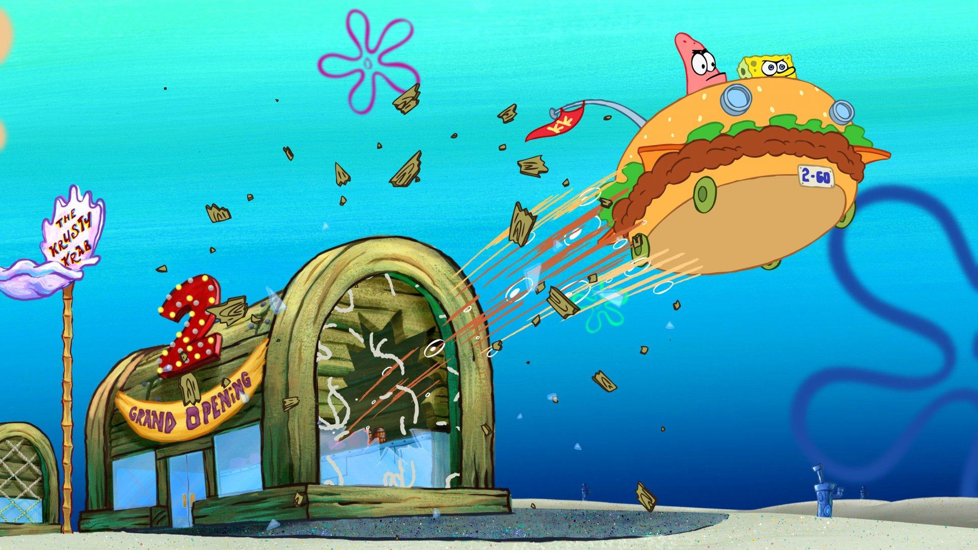 Partick und Spongebob brechen mit dem Burgermobil durch die Frontscheibe der krossen Krabbe um ins Abenteuer zu starten, Die 5 BESTEN am DONNERSTAG, Passion of Arts